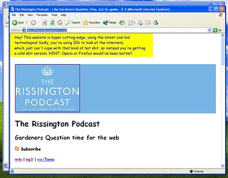 Rissington Podcast filtered CSS test IE6 | by Jon Hicks