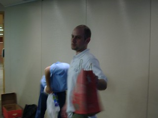 Hans handles the swag give away