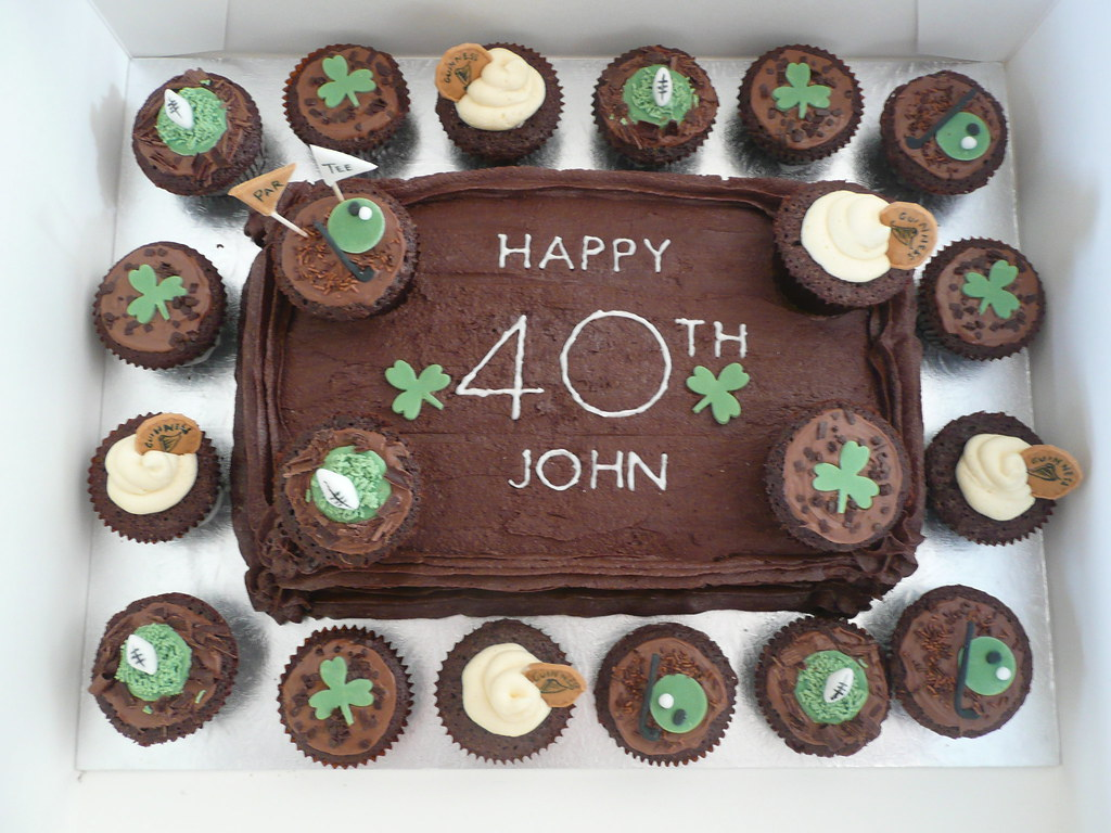Cool Large Chocolate Cupcake Cake Johns 40Th Birthday Celebrat Flickr Personalised Birthday Cards Veneteletsinfo