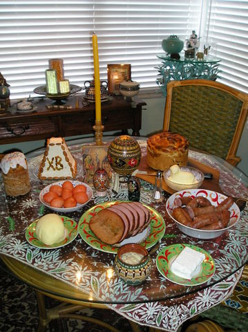 Easter Table with Cheese Paskha and Kulich