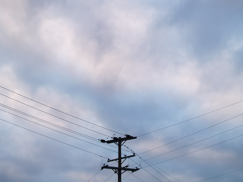 Telephone Pole, Wires, Clouds (Washington, DC