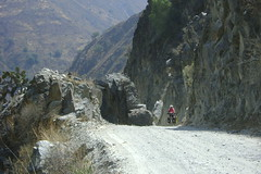 Nancy on Huancayo to Ayacucho road on Rio Mantaro