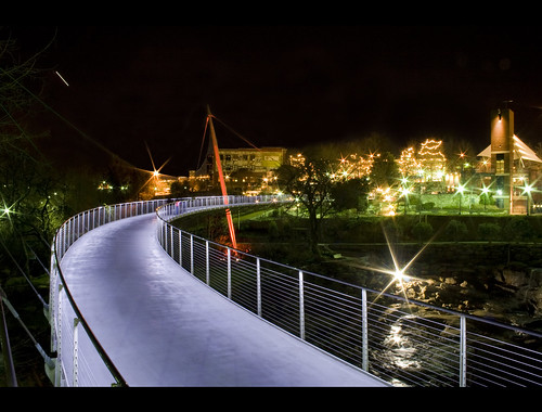 city bridge urban water beautiful architecture river dark liberty star waterfall downtown upstate nightlife railing greenville startrail