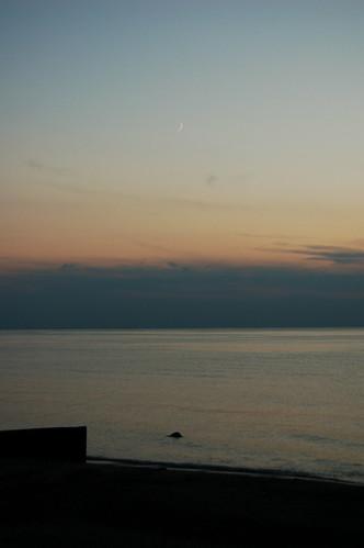 sunset moon ontario canada beach geotagged hillsboro geo:lon=82092419 geo:lat=43113829