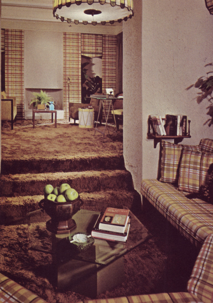 Plaid Banquette (and a shag carpet) | Caption reads: A ...
