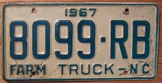 NORTH CAROLINA 1967 FARM TRUCK plate | by woody1778a