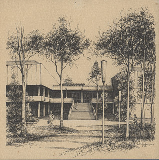 Pen sketch of Auchmuty Library by Val Anderson, 1982 | by Auchmuty Library, UON