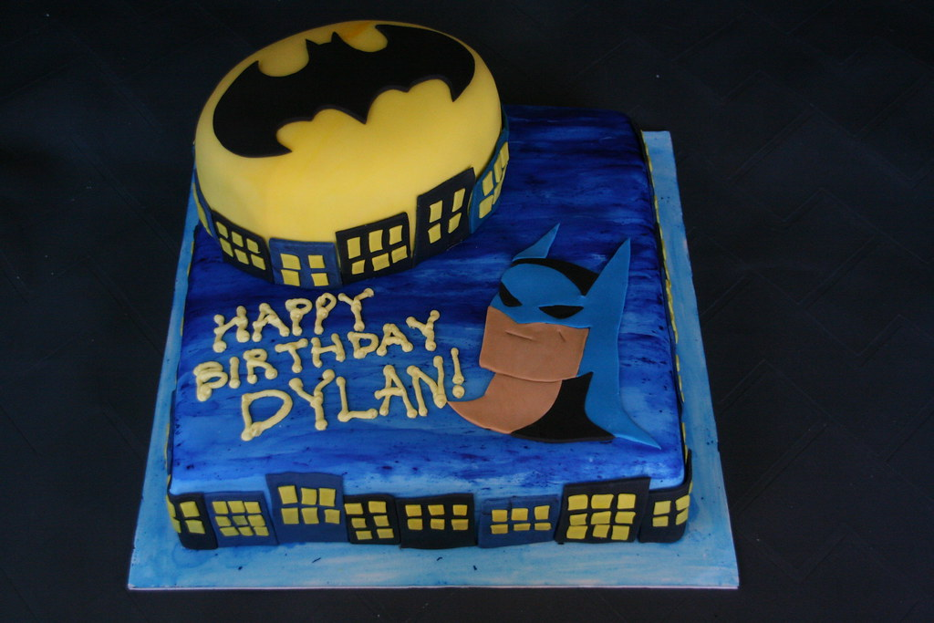 Super Batman Birthday Cake A Batman Cake For A 5Th Birthday Part Flickr Personalised Birthday Cards Veneteletsinfo