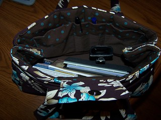brown and blue purse 010