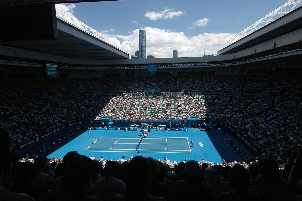 Rod Laver Arena With The Roof Open Eureka Tower In The