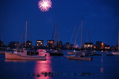 Fireworks over Scituate Harbor boats by Chris Devers