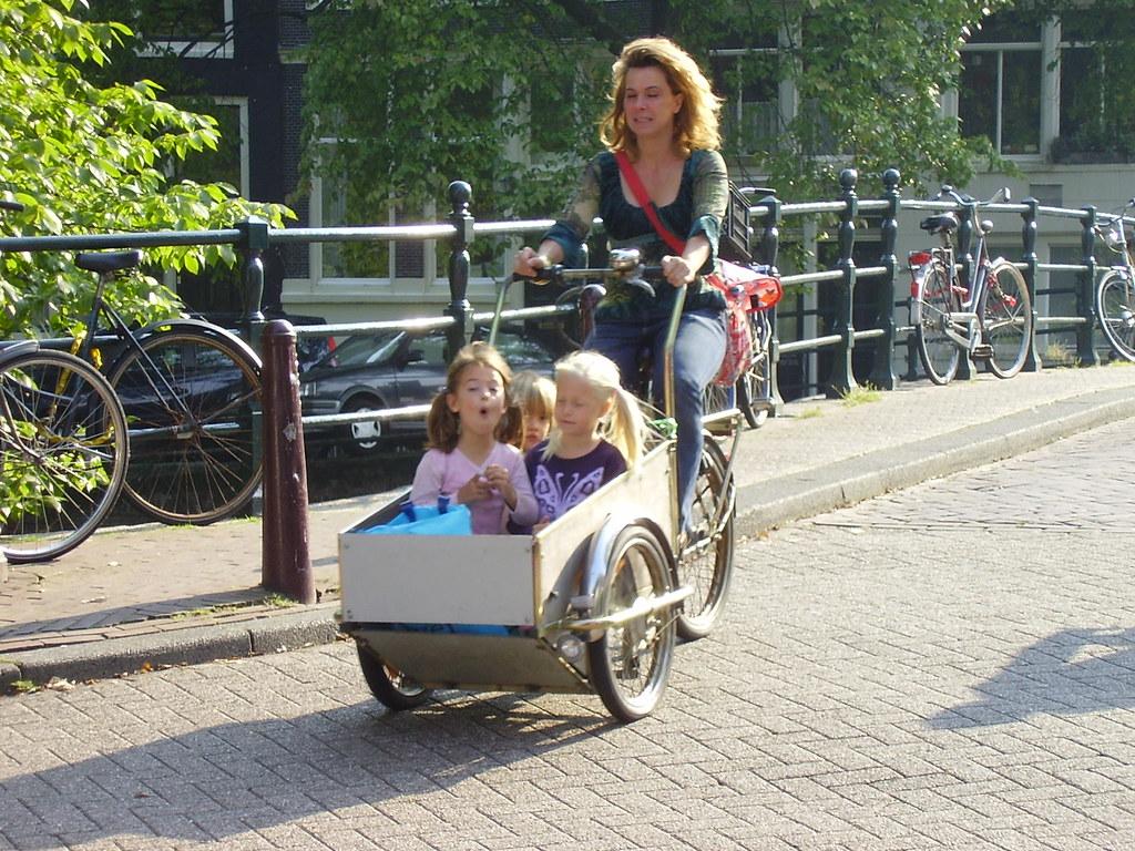 Dutch children with bike