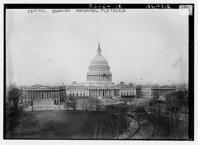Capitol showing inaugural platform  (LOC)
