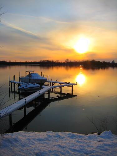 winter sunset boat michigan scenic grosseile scenicmichigan