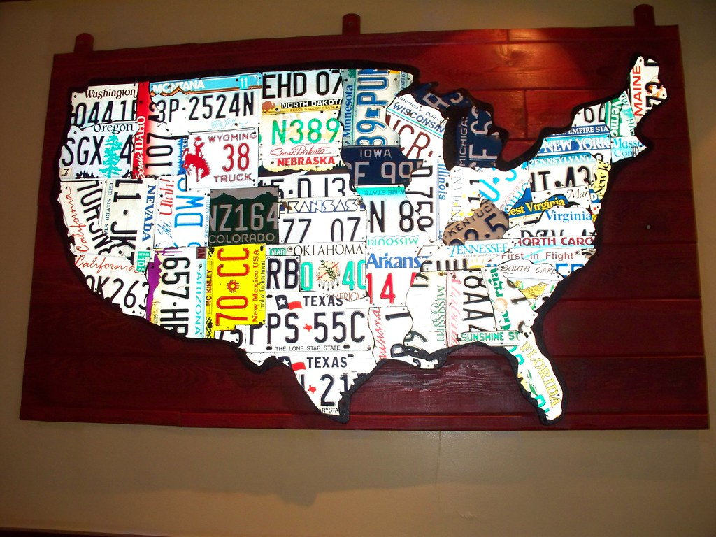 Map of the USA made out of license plates from that state ... Made Out Of License Plates Map on map wall decor metal art, map made of books, map white on white art, map made of tools, map of united states license, map made of paper, map made of flowers, map made of buttons,