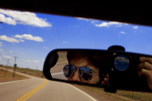 road travel selfportrait reflection art car sunglasses digital driving rearviewmirror commute obstruction aviators hiway tristanbowersox chezryan
