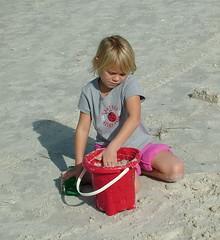 Sissie building a sand castle