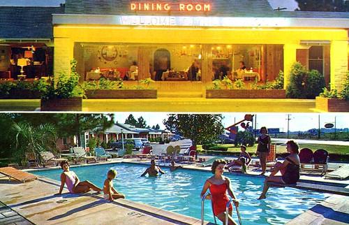 vintage postcard southcarolina motel gamecock santee poolview dualview restaurantview