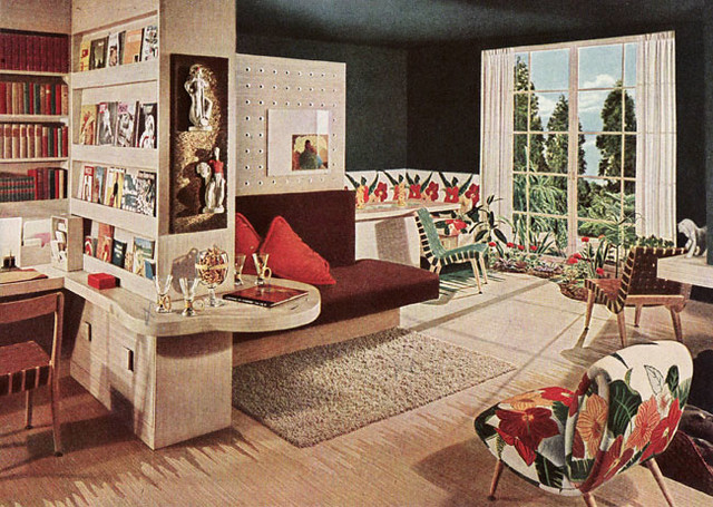 1945 Mid-century Modern Living Room   1945 living room shown ...