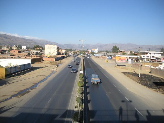 Road to Sacaba from Cochabamba in Bolivia