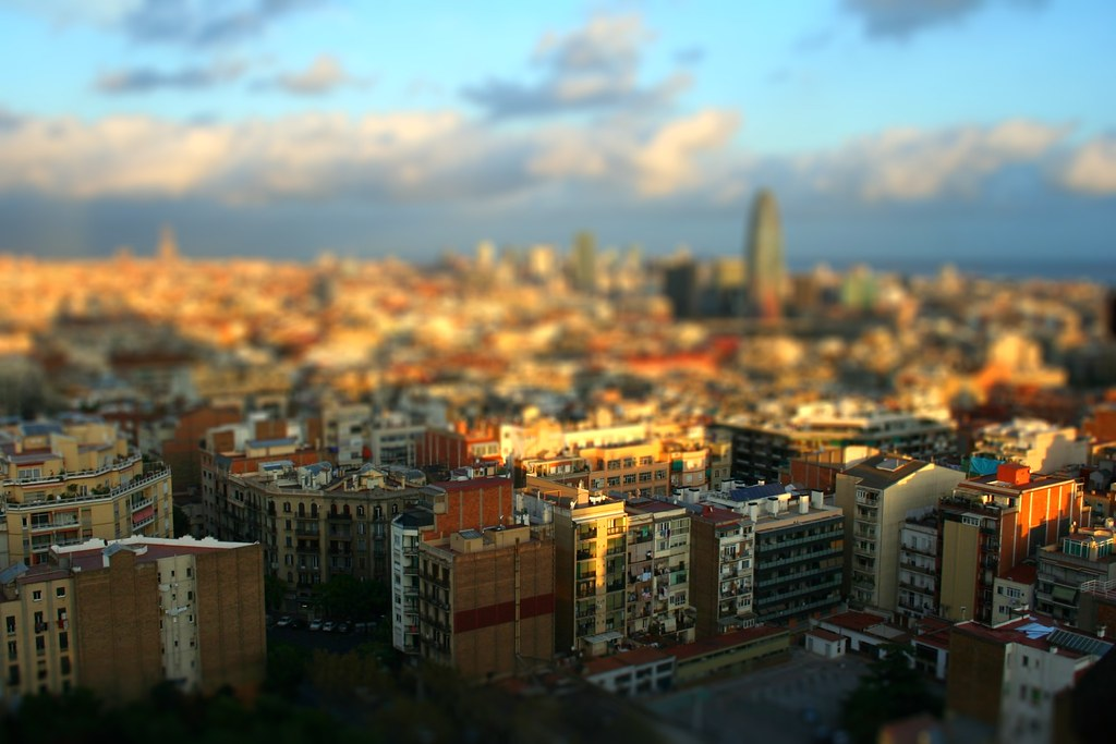 Tilt-shift Maker: Barcelona from the Sagrada Família