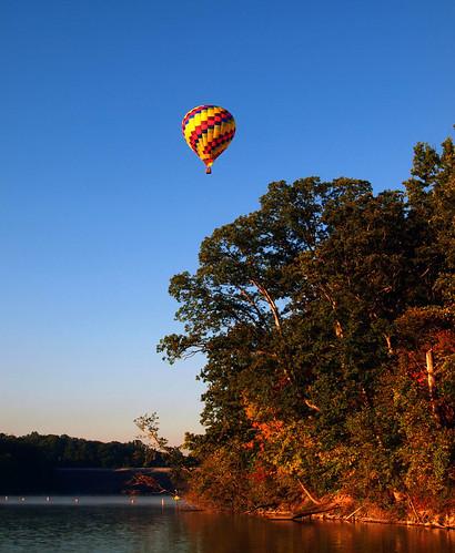 sunset sky hot air balloon