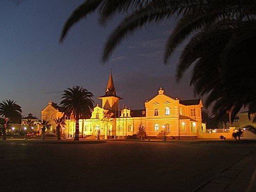 africa trip travel vacation architecture night hotel explore viagem architektur afrika namibia vacaciones ferias swakopmund alterbahnhof explored oldtrainstation