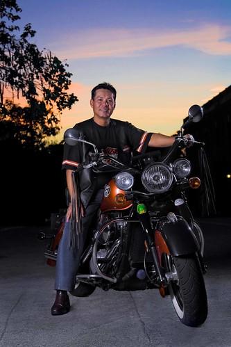 sunset portrait sky bike big outdoor indian flash motorcycle strobe strobist