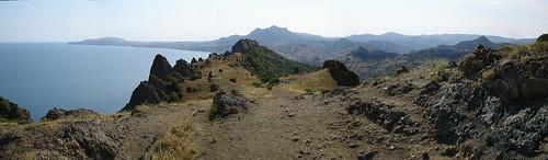 sea mountain rock landscape volcano horizon ukraine crimea sedimentary igneous крым koktebel karadag mesozoic коктебель карадаг планерское