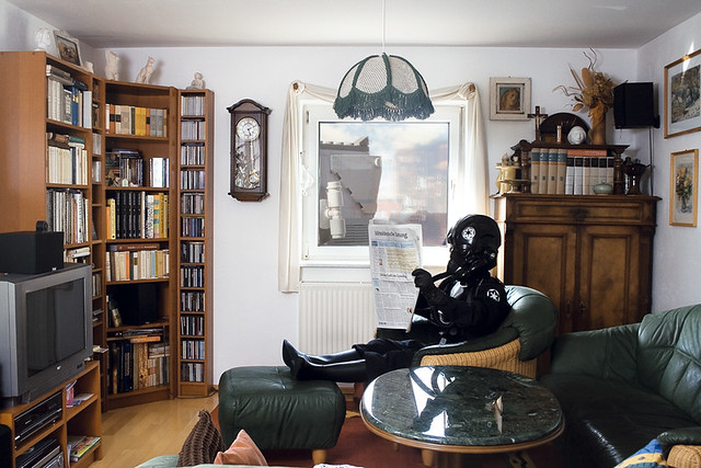 star wars: dark forces / tie fighter pilot and at-st reading newspaper in living room
