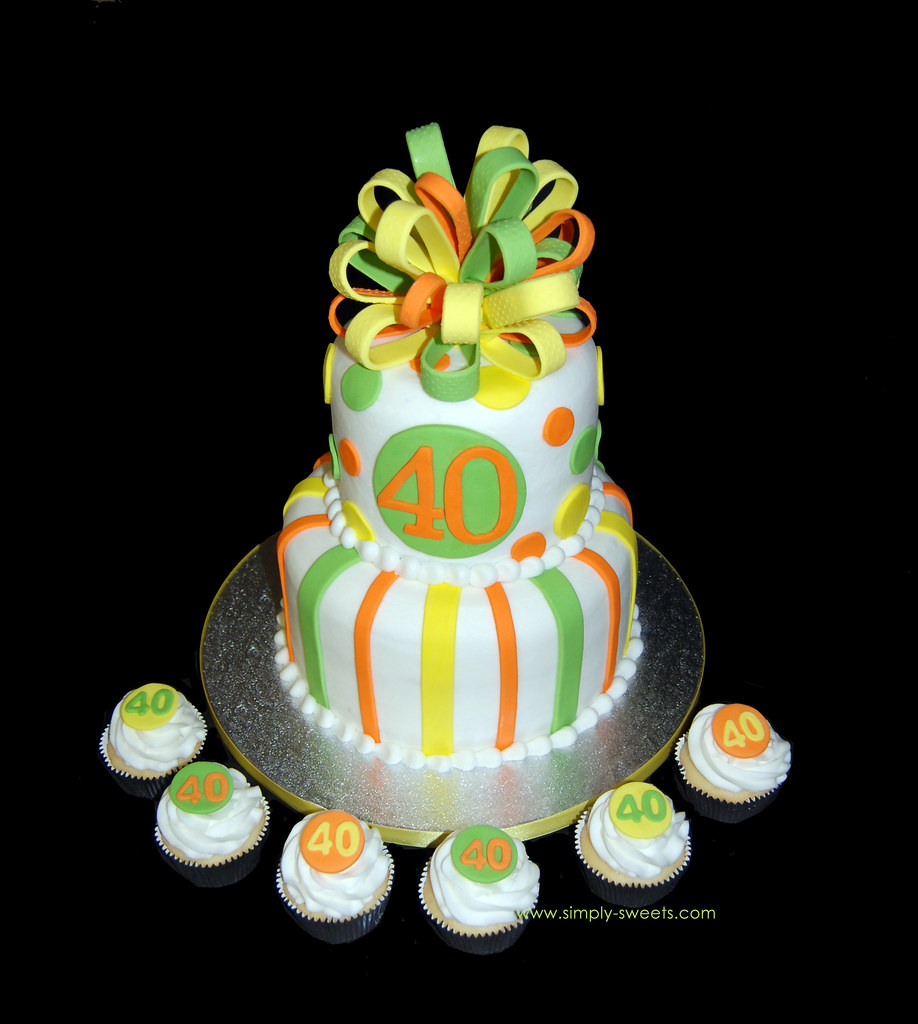 40th Birthday Yellow Orange And Lime Green 2 Tier Cake