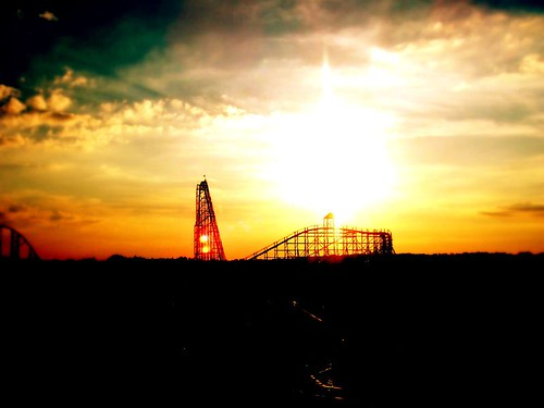 park light sunset sun lake wheel amusement ferris flags theme darien six