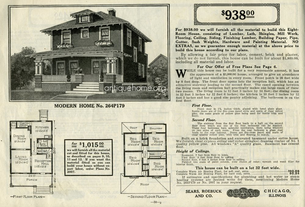 Sears Foursquare::The Woodland or 264P179   Woodland Model o ... on sears dutch colonial house plans, sears craftsman bungalow house plans, sears cape cod house plans, sears mid-century modern house plans, sears ranch house plans, sears victorian house plans,