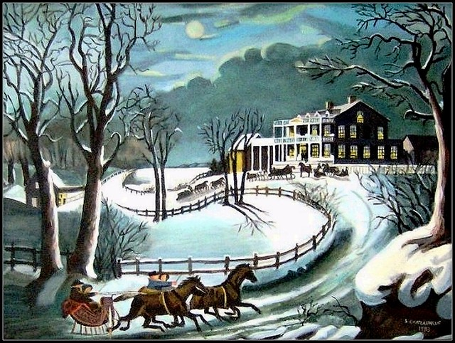 Winter Evening - Acrylic Painting by STEVEN CHATEAUNEUF Painted In 1983 - Copy Of Currier & Ives' Painting - Photo Of This Painting Was Taken Also by STEVEN CHATEAUNEUF On January 13, 2009