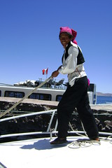 Poling the boat at Taquile