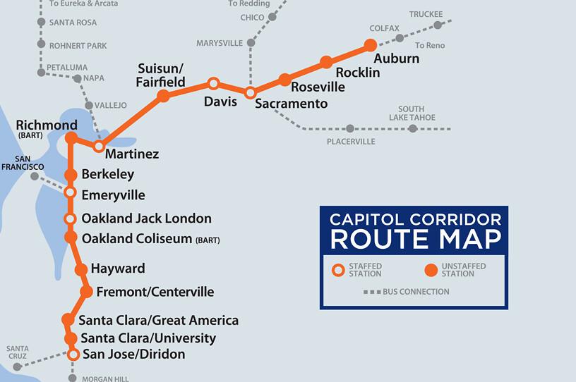 Capitol Corridor Map Capitol Corridor station map | California Amtrak service bet… | Flickr