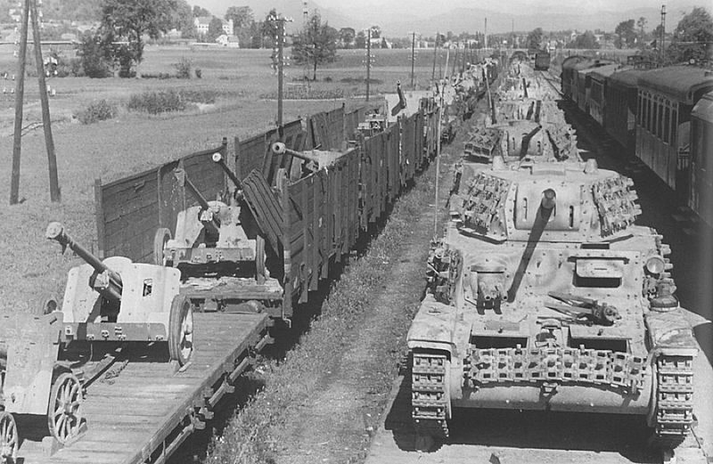 German train laden with PaK 38 AT guns and captured Italian M15/42 tanks