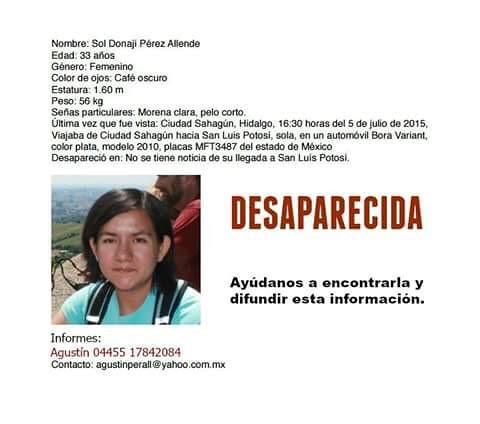A través de redes sociales se reportó la desaparición de Sol Donají Pérez Allende. | by La Jornada San Luis