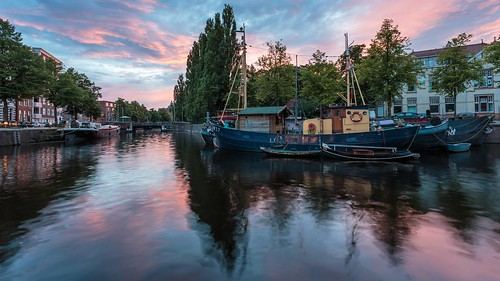 city light sunset summer urban holland colour reflection water netherlands photoshop canon eos evening licht boat canal zonsondergang europe availablelight widescreen tripod nederland wideangle panoramic zomer groningen fullframe dslr avond 169 1740mm stad manfrotto gracht lightroom 6d kleur wideanglelens lseries 17mm noorderhaven groothoek canon6d mcquaidephotography