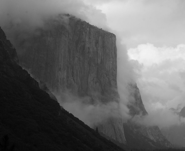 B&W shot of clouds clearing off El Capitan in Yosemite Valley