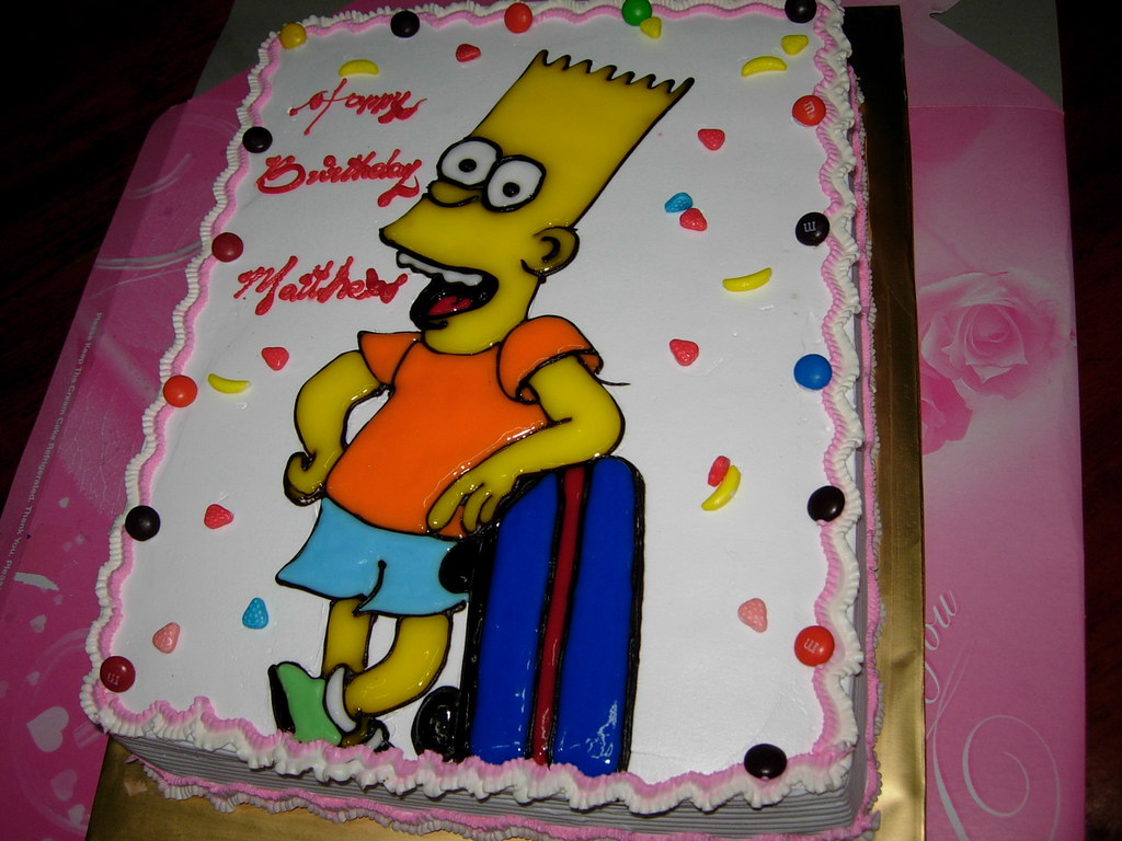 Awe Inspiring Bart Simpson Birthday Cake Lilian Aka 5Xmom Flickr Personalised Birthday Cards Veneteletsinfo