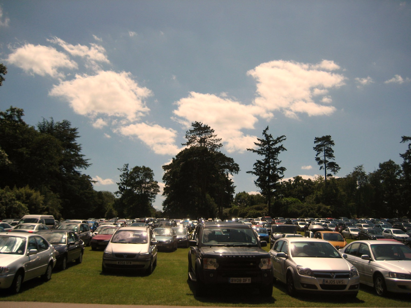 Our Green And Pleasant Land The car park at Hever Castle on a hot, June day. Hever to Leigh.