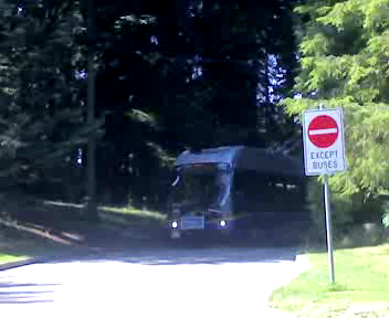 Regular trolley arrives at the Stanley Park loop