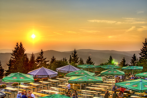 trees sunset sky sun forest germany hotel nikon terrace hills benches umbrellas hdr d300 suhl photomatix ringberg eurofurence ef14 mygearandmepremium mygearandmebronze mygearandmesilver mygearandmegold mygearandmeplatinum mygearandmediamond