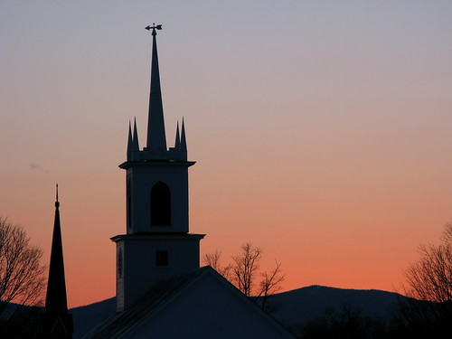trees sunset mountains silhouette vermont glow sundown wind dusk steeple steeples vt weathervain randolphcenter canong9