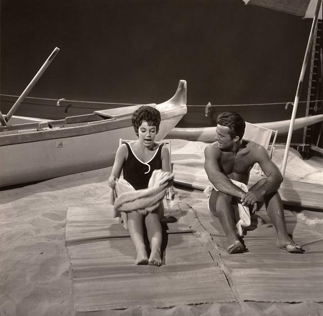 Robert Conrad and Karen Kupcinet on a soundstage beach, Hawaiian Eye, 1963
