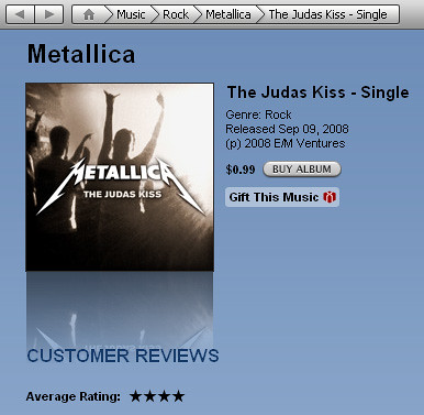 Cover of the Metallica - Judas Kiss Single | by broox