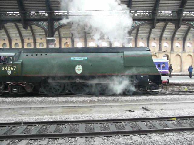 34067 'Tangmere' leaving York station