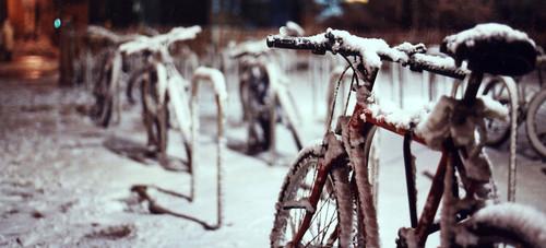 Bikes in the snow, Southampton University