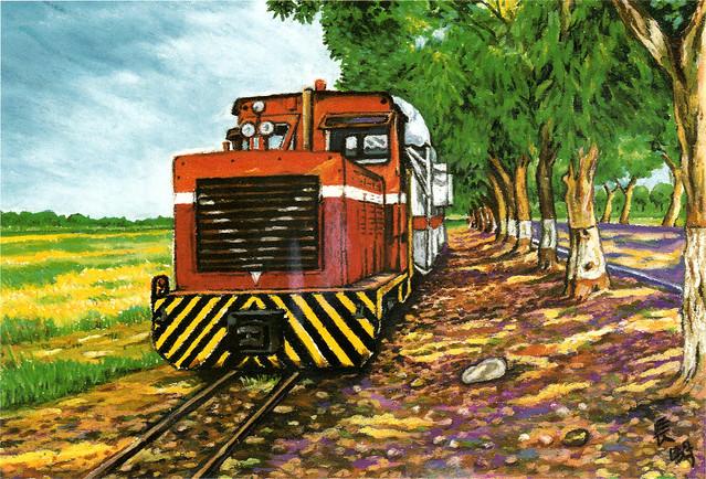 Taiwan Sugarcane Train Art Postcard